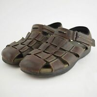 CLARKS Men's 14 Brown Leather Closed Toe Strap Sandals Hiking Trail Casual Shoes