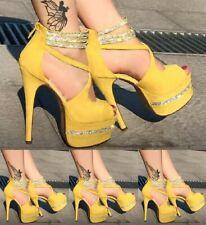 Womens High Stiletto Heel Pump Shoes Platform Ankle Strap Peep Toe Sexy 4.5-11