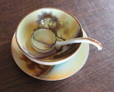 Vintage Noritake M Japan Bowl Spoon Plate Mayonnaise Condiment Set Handpainted