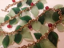 Antique Early Haskell? Czech? Glass Leaves Berries Arrow Toggle Festoon Necklace