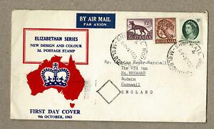 Australia 1963 QEII 5d FDC Cover uprated 2/3d Airmail to UK Tasmania Tiger
