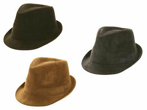 CORDUROY CORD COTTON TRILBY FEDORA GANGSTER HAT BROWN NAVY BLACK 57 58 59 60cm