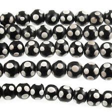 Black + Gray Dots 8-9mm Glass Beads, Handmade Lampwork 52/Strand