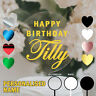 CAKE TOPPER BIRTHDAY PARTY HAPPY PERSONALISED NAME ACRYLIC CLEAR WHITE BLACK