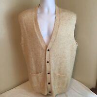 Sears Mens Cardigan Sweater Vest Beige Large X-Tall Wool Blend Free Shipping