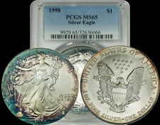 1998 American Silver Eagle PCGS MS65 Green/Navy Blue/MaroonToned Coin