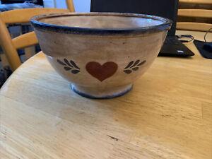Large Ceramic Decorative Display Bowl Country Theme Heart Tan Blue