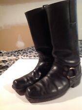 Vntg MEN FRYE SQUARE TOE HARNESS MOTORCYCLE LEATHER Black BOOTS SIZE 9.5D cowboy