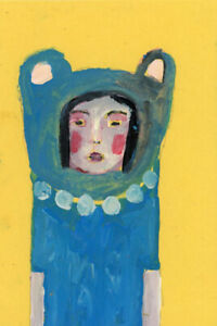Bear Girl Portrait Painting Naive Painterly Outsider Art Katie Jeanne Wood