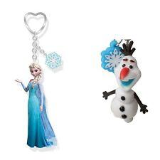 Original Disney Frozen Olaf Muñeco de Nieve/Elsa 3D figura y Copo de nieve encanto Llavero