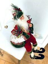 "27"" New Posable Santa Doll w/Bird & Gift Bendable Leg Red Green Merry Christmas"