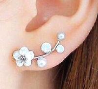 New Pearl Earrings Flower Ear Crawler Stud Earrings Ear Climber Jewelry