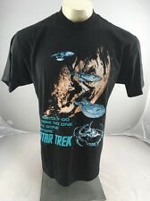 "VTG Star Trek ""To Go Boldly Where No One Has Gone Before"" Black Tv T-Shirt L USA"