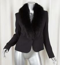RALPH LAUREN BLACK LABEL Womens Black Silk Coyote Fur Collar Jacket Blazer 4/S