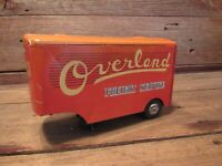Vintage RARE Tin Litho Overland Freight Service Trailer Made In Japan