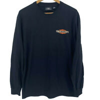 Harley Davidson Long Sleeve T-Shirt Men's Black Rectangular Logo Double Sided