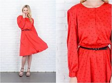 Vintage 80s Red Retro Dress Puff Sleeve Midi Abstract Print Medium M
