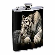 White Tiger Em1 Flask 8oz Stainless Steel Hip Drinking Whiskey