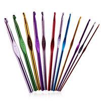 12PCS Multi Colour Crochet Hooks Needle Yarn Knitting Craft Case Set Plastic Kit