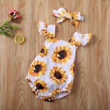 Newborn Baby Girl Sunflower Romper Summer Jumpsuit Bodysuit Headband Outfits
