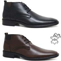 Mens New Leather Lace Up Smart Formal Chelsea Work Ankle Boots Office Shoes Size