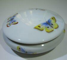 Rare Vintage Rochard Limoges France Butterfly Transferware Porcelain Trinket Box