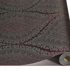 Plum Damask Glitter Wallpaper Metallic Sparkle Textured Embossed Luxury Vinyl