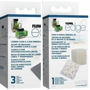 Fluval Edge Filter Media: Biomax, Foam and 3x Carbon *GENUINE* BUNDLE