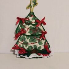 Christmas Tree Red Green Cloth Ugly Holiday Ornament Ribbons Star Top