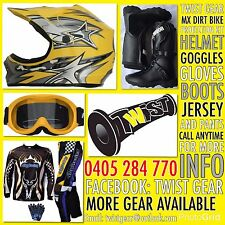 KIDS PEEWEE YELLOW DIRT BIKE SPROCK HELMET GOGGLE GLOVES JERSEY PANTS BOOTS KIT