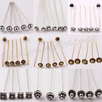 Lots 20Pc Silver Golden Metal Head/Crown/Ball Pins Jewellery Finding 50Mmm