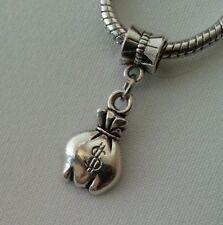 Silver Money Bag $ Handbag Purse Dangle Bead fits European Bracelets Necklace