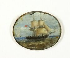 Antique Miniature Oil Painting - Peinture - Maritime, Boat, Original Oil