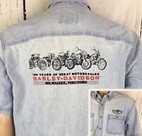 Harley Davidson Denim Shirt 100 Years Milwaukee Wisconsin Motorcycles Men Sz L