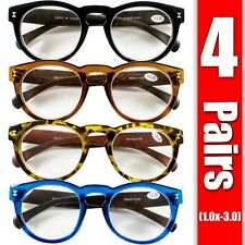 4 Pairs Mens Womens Oval Round Fashion Retro Power Reading Reader Glasses 1-3