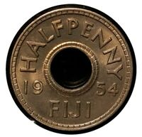1954 FIJI HALF PENNY NICE GEM LOW MINTAGE RARE COIN FROM ORIGINAL ROLL