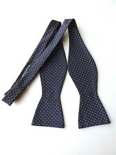 NEW! Self Tie Bow Tie Dark Purple and White Dots 13.5 - 18.5 Inch Neck FREE P&P