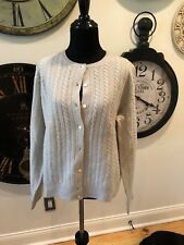 Ladies J Crew Gray Cable Cardigan Sweater Size Large
