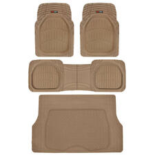 Beige Deep Dish Floor Mats with Cargo Trunk Liner Rubber All Weather Protection