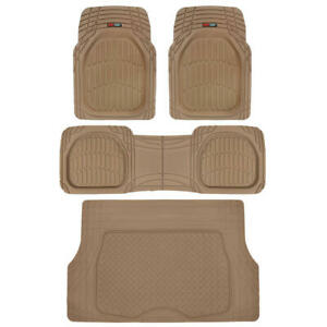 Deep Dish Floor Mats with Cargo Trunk Liner Rubber All Weather Protection BEIGE