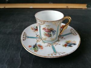 Vintage Bird Patterned Coffee Cup & Saucer.
