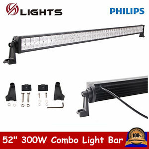 52inch 300W LED Work Light Bar Spot Flood Combo OffRoad Boat SUV TRUCK LAMP 54""