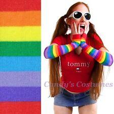Rainbow Stripe Arm Warmers Long Gloves Fingerless Costume Roller Derby Bright