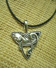 Celtic Cat Triquetra pendant Necklace 2 sided silver black cord kitten kitty