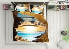 3D Sunshine Sea Nao417 Bed Pillowcases Quilt Duvet Cover Set Queen King Fay