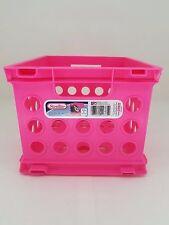 "Sterilite Storage Crate Pink / Mini Stackable Storage Crate 9"" x 7-7/8"" x 6-1/8"""