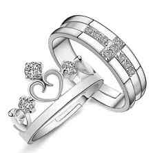 Lovers Gold Plated CZ Engagement Wedding Band Ring Sets Bride Groom Ring Sets