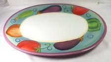 "Ratatouille 16 "" Oval Serving Platter Vegetable Purple Trim Dansk Earthenware"