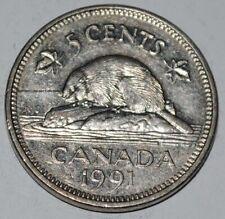Canada 1991 5 Cents Elizabeth II Canadian Nickel Five Cent