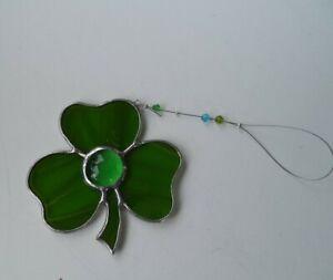 Green Irish Shamrock sun catcher stained glass handcrafted in Mayo Ireland gift